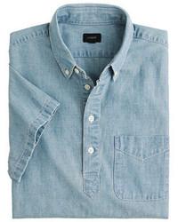 Синяя футболка-поло из шамбре