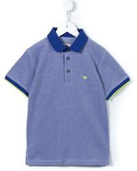 Детская синяя футболка-поло для мальчику от Armani Junior