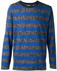 Синяя футболка с длинным рукавом в горизонтальную полоску