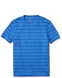 Синяя футболка с круглым вырезом в горизонтальную полоску