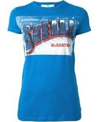 Синяя футболка с круглым вырезом с принтом
