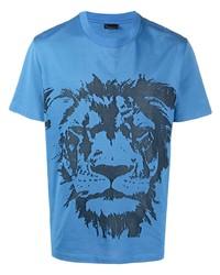 Мужская синяя футболка с круглым вырезом с принтом от Billionaire