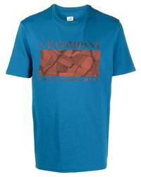 Мужская синяя футболка с круглым вырезом с принтом от C.P. Company