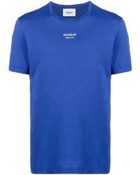 Мужская синяя футболка с круглым вырезом с принтом от Dondup