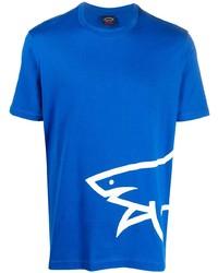 Мужская синяя футболка с круглым вырезом с принтом от Paul & Shark