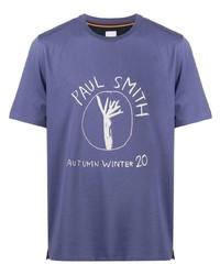 Мужская синяя футболка с круглым вырезом с принтом от Paul Smith