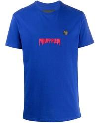 Мужская синяя футболка с круглым вырезом с принтом от Philipp Plein