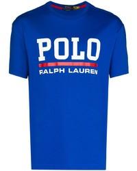 Мужская синяя футболка с круглым вырезом с принтом от Polo Ralph Lauren