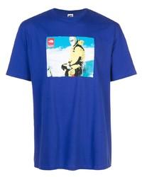 Мужская синяя футболка с круглым вырезом с принтом от Supreme