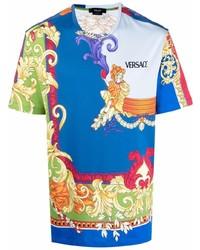 Мужская синяя футболка с круглым вырезом с принтом от Versace