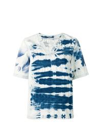 Женская синяя футболка с v-образным вырезом с принтом тай-дай от Stella McCartney