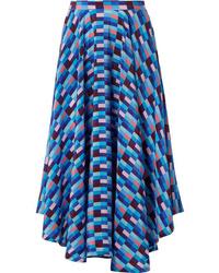 Синяя шелковая юбка-миди