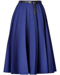 Синяя юбка-миди со складками