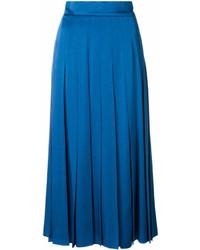 Синяя юбка-миди со складками от Fendi