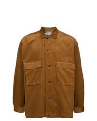 Табачная вельветовая рубашка с длинным рукавом