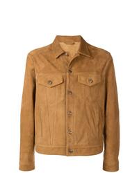 Мужская табачная замшевая куртка-рубашка от Alanui