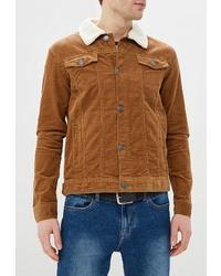 Мужская табачная замшевая куртка-рубашка от Brave Soul