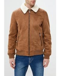 Мужская табачная замшевая куртка-рубашка от Celio