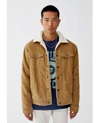 Мужская табачная замшевая куртка-рубашка от Pull&Bear