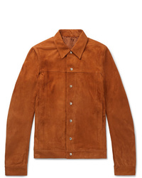 Мужская табачная замшевая куртка-рубашка от Rick Owens