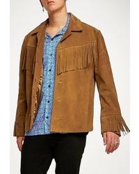 Мужская табачная замшевая куртка-рубашка от Topman