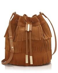 Табачная замшевая сумка-мешок