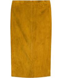 Табачная замшевая юбка-карандаш