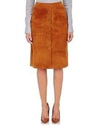 Табачная замшевая юбка на пуговицах