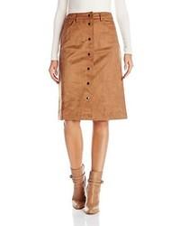 Женская табачная замшевая юбка на пуговицах от Glamorous