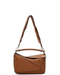 Табачная кожаная большая сумка от Loewe