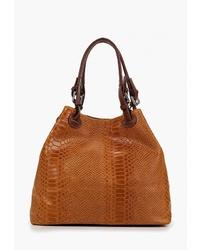 Табачная кожаная большая сумка от Sefaro Exotic