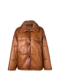 Табачная кожаная куртка-пуховик