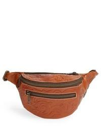 Табачная кожаная поясная сумка