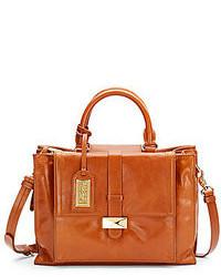 Женская табачная кожаная сумка-саквояж от Badgley Mischka