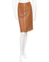 Табачная кожаная юбка-карандаш