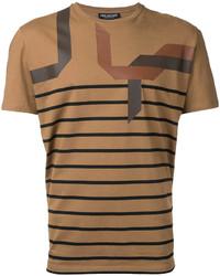 Мужская табачная футболка с круглым вырезом в горизонтальную полоску от Neil Barrett