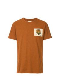 Мужская табачная футболка с круглым вырезом с вышивкой от Kent & Curwen