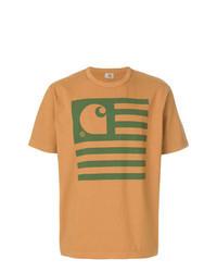 Табачная футболка с круглым вырезом с принтом