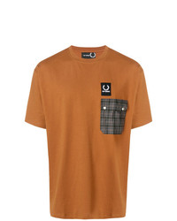Мужская табачная футболка с круглым вырезом с принтом от Raf Simons X Fred Perry