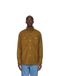 Табачная шерстяная куртка-рубашка