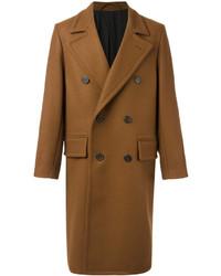 Табачное длинное пальто от AMI Alexandre Mattiussi
