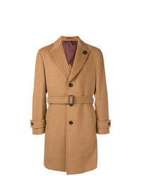 Табачное длинное пальто от Lardini