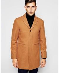 Табачное длинное пальто от Selected
