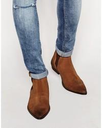 Мужские табачные замшевые ботинки челси от Asos