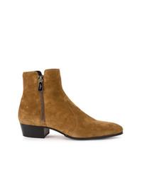 Мужские табачные замшевые ботинки челси от Balmain