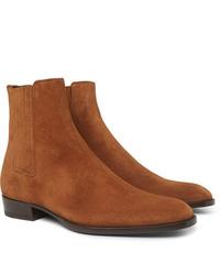Мужские табачные замшевые ботинки челси от Saint Laurent