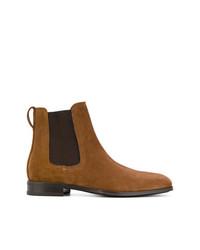 Мужские табачные замшевые ботинки челси от Salvatore Ferragamo