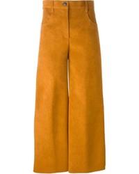 Табачные замшевые брюки-кюлоты