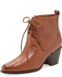 Табачные кожаные ботильоны на шнуровке