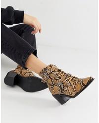 Табачные кожаные ботильоны на шнуровке от New Look
